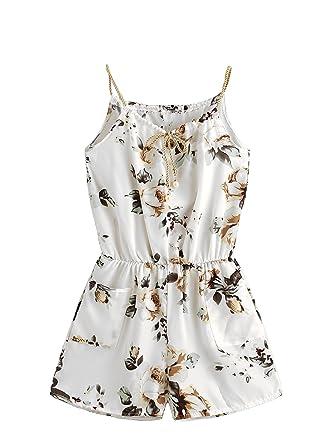 185b10c6be0 DIDK Femme Combinaison Courte Sexy Jumpsuit D  Été Combinaison Imprimé  Fleuri Combinaison avec Un Lacet