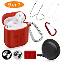 Cuauco AirPods Case Protective Silicone Cover with 2 Anti-Lost Airpods Strap/2 Pairs of Ear Hooks/2 Carabiner/1 Airpods Watch Band Holder/1 Headphone Case for Apple Airpods Accessories (9 Pack)-(Red)