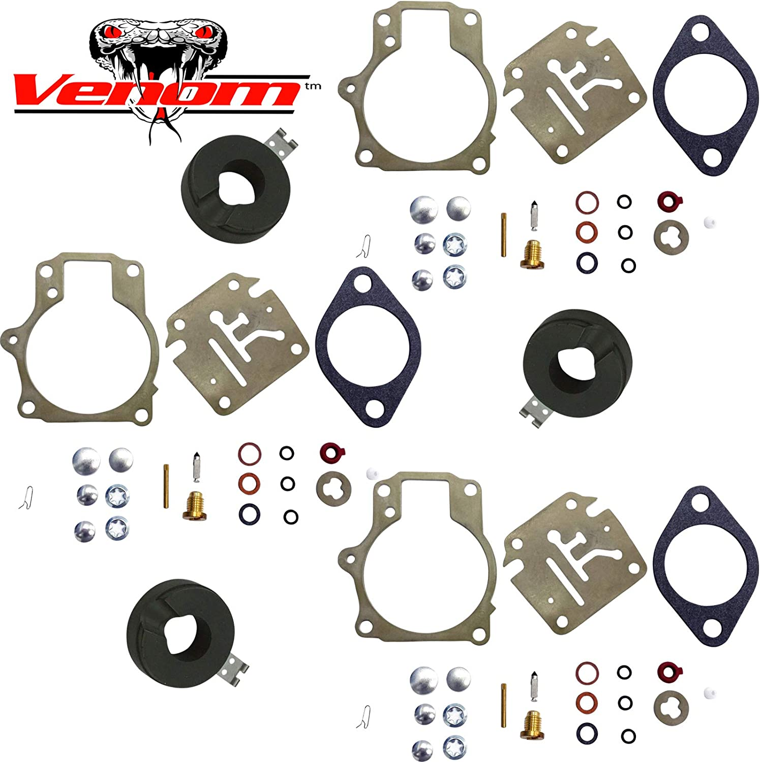 2Pack Carburetor Rebuild Kit with Float for Johnson Evinrude 396701 392061 398729 18 20 25 28 30 35 40 45 48 50 55 60 65 70 75 HP Outboard Motors Replaces Sierra 18-7222 18-7042 Mallory 9-37107