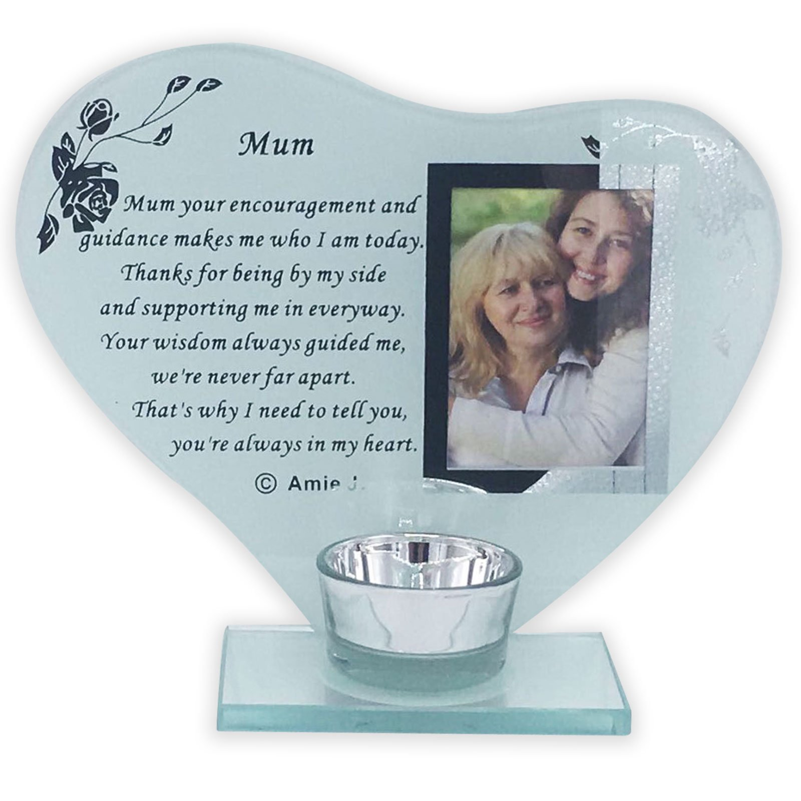 Inspirational poem candle and photo holder glass memorial plaque His smile
