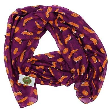 ecac622b22dfd0 Neu mit Etikett Fuchs Motiv Tücher Schals für Damen Halstücher Accessoire ( Lila)