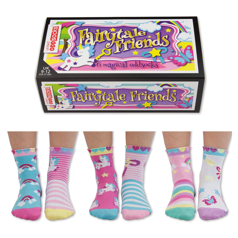da abbinare a caso United Oddsocks Set di 6 calzini spaiati da bambina con personaggi delle favole e unicorni