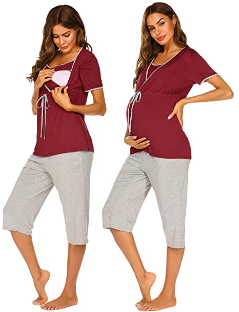8800b4145c49d Ekouaer Maternity Hospital Set Short Sleeve for Breastfeeding Pregnancy Pajama  Sets