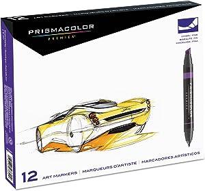 Prismacolor 3620 Premier Art Marker Set, Dual-Tip, Assorted Colors, 12/Set