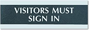 Headline Sign 4763 Century Series Office Sign, VISITORS MUST SIGN IN, 9 x 3, Black/Silver
