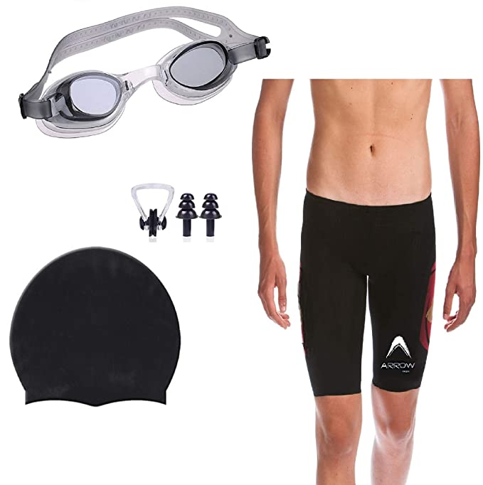 b24edf5fce THE MORNING PLAY Men Swimming Costume Free Size (28in-34in) Goggles Cap 2