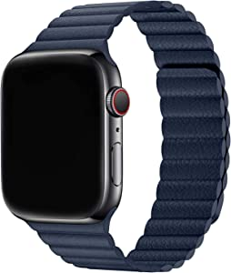 Firsteit Compatible with Apple Watch Leather Band 44mm 42mm 40mm 38mm Adjustable Loop Strap with Magnetic Closure for iWatch Series 6/5/4/3/2/1/SE (Diver Blue, 38mm/40mm)