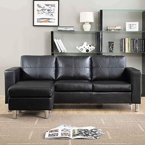 Itamoby, Sofá cómodo con Chaise Longue, sintética Negro, 3 ...