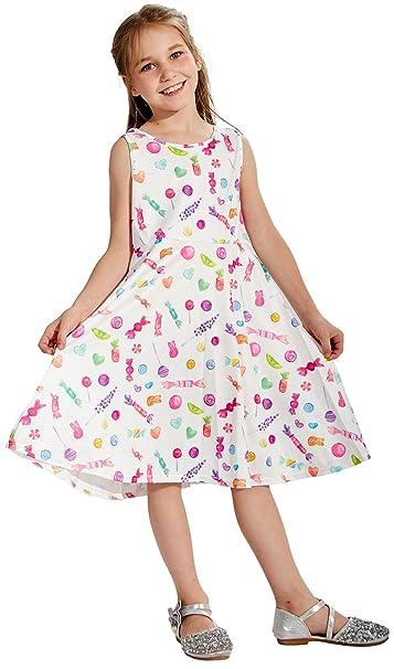 Chiolife niño niña bebe niñas sin mangas vestido estampado de caramelo dulce fiesta vestidos de novia