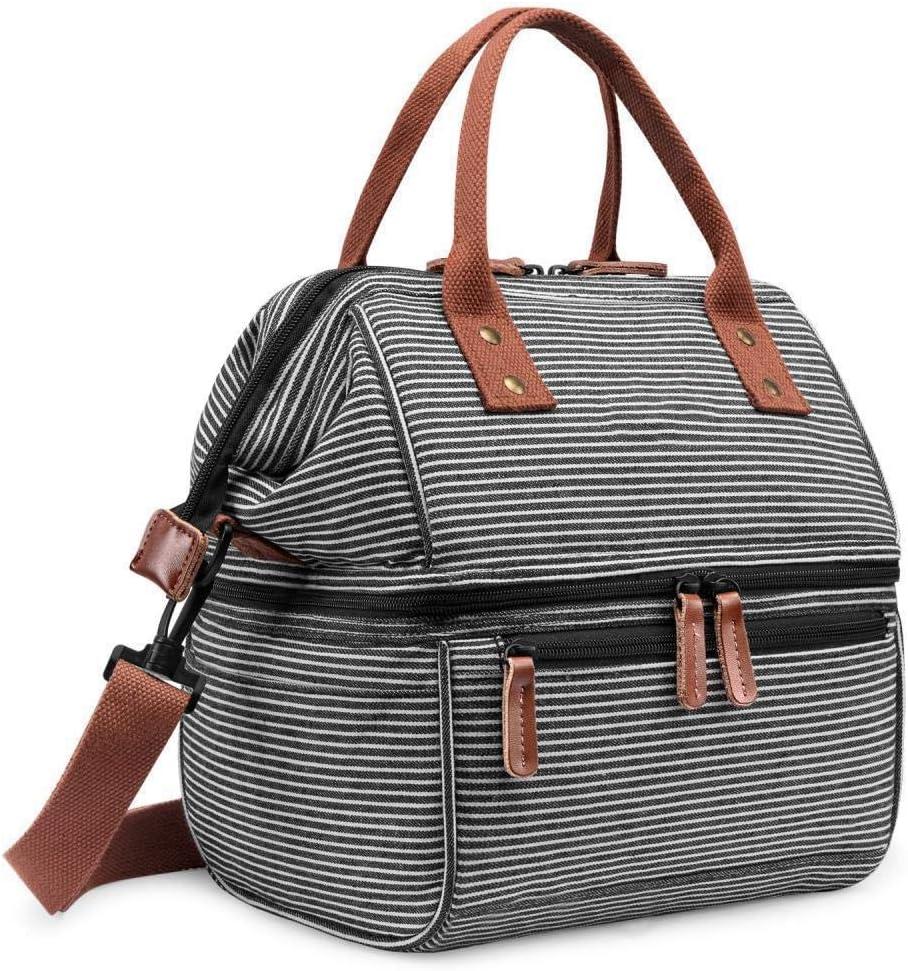 黒と白のストライプ2人旅行屋外ピクニック学生ランチボックスランチバッグオックスフォード布保温バッグピクニックランチボックス寒さ保存ランチボックスバッグ、黒と白のストライプ