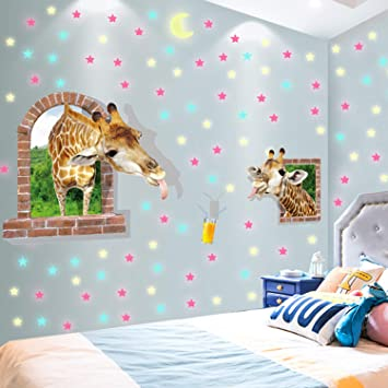 3D Cosmic Stars Glow in the Dark Wall Sticker Green Light Home Decor Baby Room