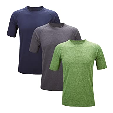 1f98b2913ad SWISSWELL 3 Pack Sport Shirt Men's Dry Fit Mesh Athletic Shirts  Navy&Darkgrey&Green Medium