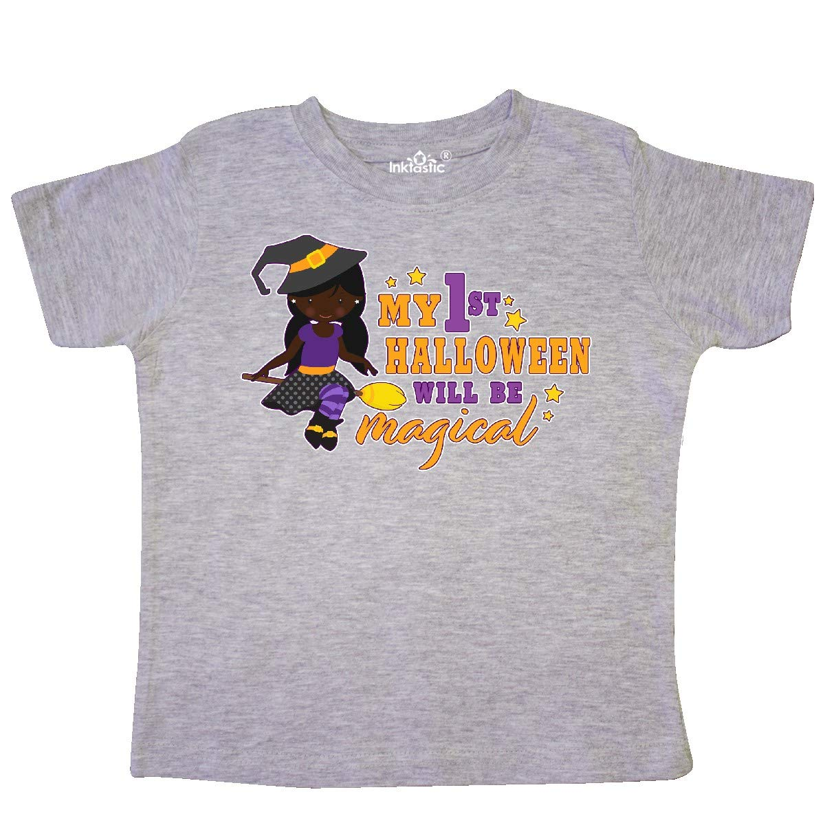 inktastic My 1st Halloween Will Be Magical with Black Haired Toddler T-Shirt