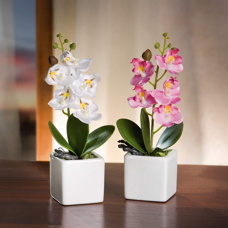fa/çonnable grazie al filo di ferro Serie 2/Vasi di orchidee Vaso in porcellana bianca pianta sintetica Ben imitato
