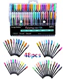Gel Pens,Includes Metallic,pastels,Neon,Glitter for Scrapbooking, Coloring,Doodling,Sketching and Craft,Pack of 48