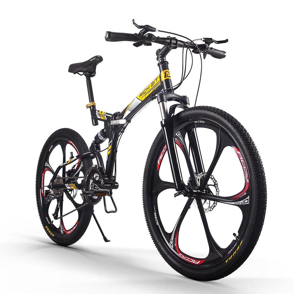 RICH BIT 008 折りたたみ自転車 26インチ マウンテンバイク 軽量 MTB 前後減衰 シマノ 27段変速 クリスマスプレゼント B0776QZG71イェロー
