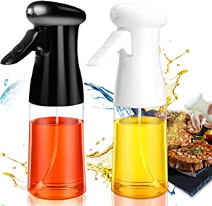 Oil Sprayer for Cooking 2 PACK Set, Oil Sprayer Mister Refillable Olive Oils Dispenser Spray Versatile Vinegar Spritzer Food Plastic Bottle for Air Fryer Kitchen BBQ Salad Baking 7Oz/200ML Black&White