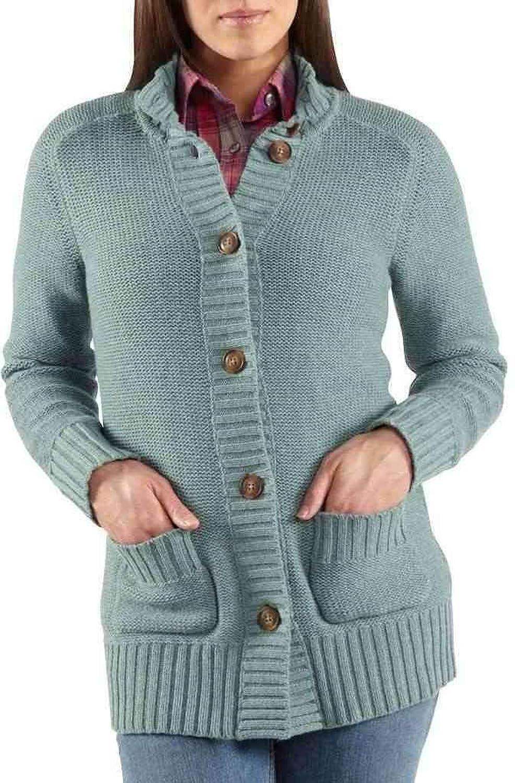 Women's Carhartt Tomboy Cardigan Sweater, AQUA GREY HTHR, XS
