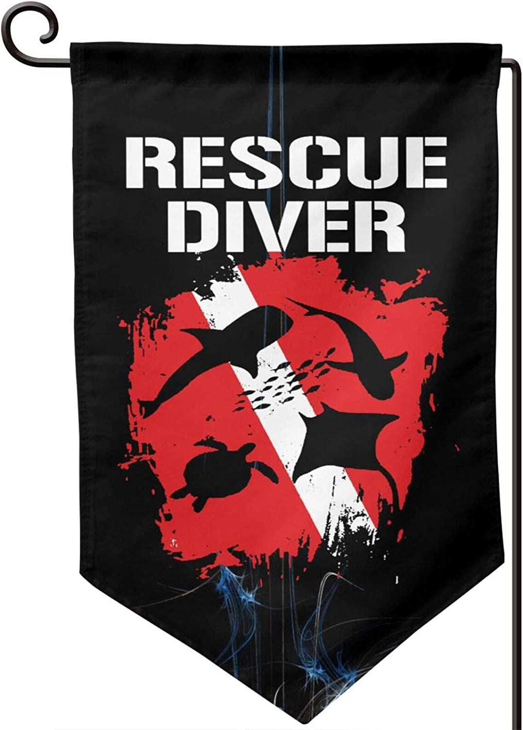 Rescue Diver Down Flag Welcome Garden Flag Double-Sized Print Decorative Holiday Home Flag12.5 X 18 Inch