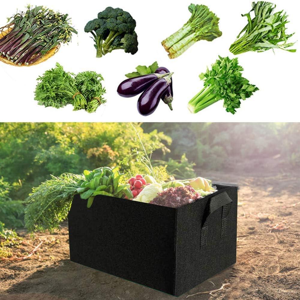 MMTX Filzgem/üse Pflanzentaschen,2 St/ück pflanzbeutel pflanzsack f/ür Fr/üchten,Gem/üse,Blumen Pflanzen gartenzubeh/ör,Atmungsaktive Vliesstoff T/öpfe mit Gurt-Griffe,schwarz