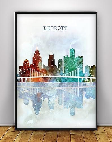 Amazon Detroit Skyline Print Michigan Wall Art Cityscape