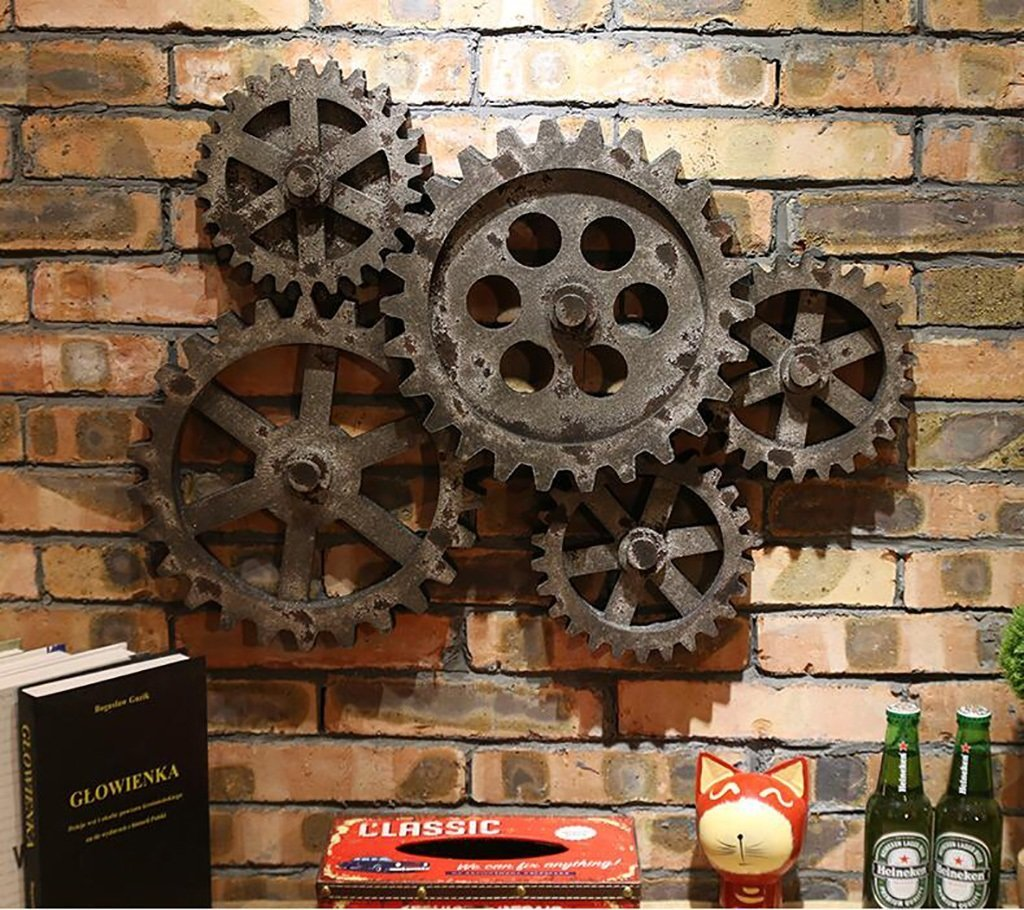 PLLP Wall Decoration, Wall Storage Shelf,Wall DÉCor Industrial Style Wall Mountings Wall Decorative Wall Decorations Stereo Imitated Metal Gear Combination,Household Wall Shelf,2#,Industrial by PLLP