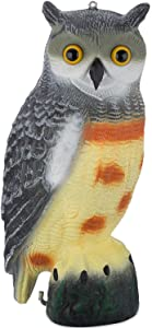 Bird Blinder Scarecrow Fake Owl Decoy - Pest Repellent Garden Protector - (Large) (Spotted)