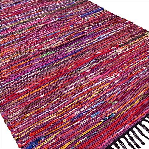 Eyes of India - 3 X 5 ft Purple Colorful Woven Chindi Rag Rug Bohemian Indian Boho Decorative (Rag Purple Rug)