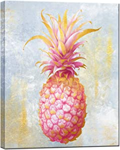 sechars Modern Canvas Wall Art Gold and Pink Pineapple Painting Picture Prints Tropical Fruit Posters Artwork for Living Room Girl Bedroom Decorations Contemporary Pink Art Decor Gallery Wrap