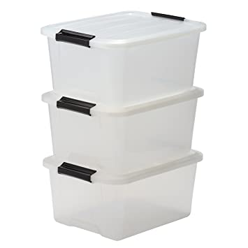 IRIS Storage Box Set Of 3, Stackable With Handle 15 Litre, Plastic  Organiser Storage