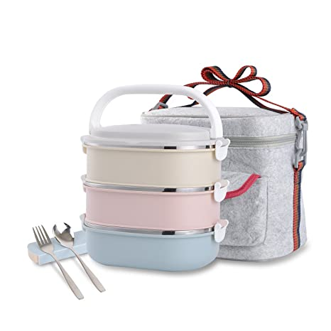 88cda51a4ead Stainless Steel Leakproof Lunch Box with Lock Container and Insulated Lunch  Bag for Adult and Office (3-Tier)
