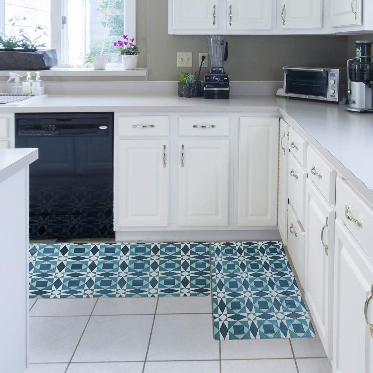 Amazon.com: Geometric Kitchen Rug Set, Kitchen Floor Mats 7 Piece