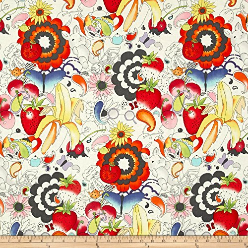 Alexander Henry AH Vault Afternoon Delight Fabric by the Yard, Tea/Charcoal