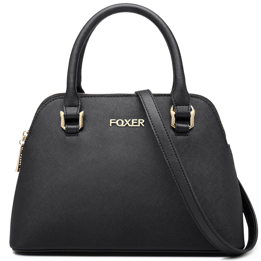 70f84f2aed FOXER Women Handbag Leather Purse Top Handle Cow Leather Shoulder Tote Bag  (Black)  Handbags  Amazon.com