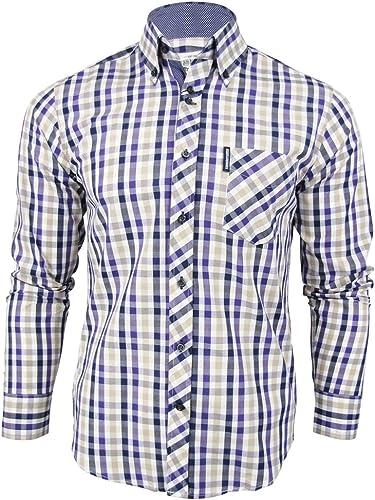 Lambretta - Camisa Casual - Cuadrados - Manga Larga - para Hombre Morado Small: Amazon.es: Ropa y accesorios