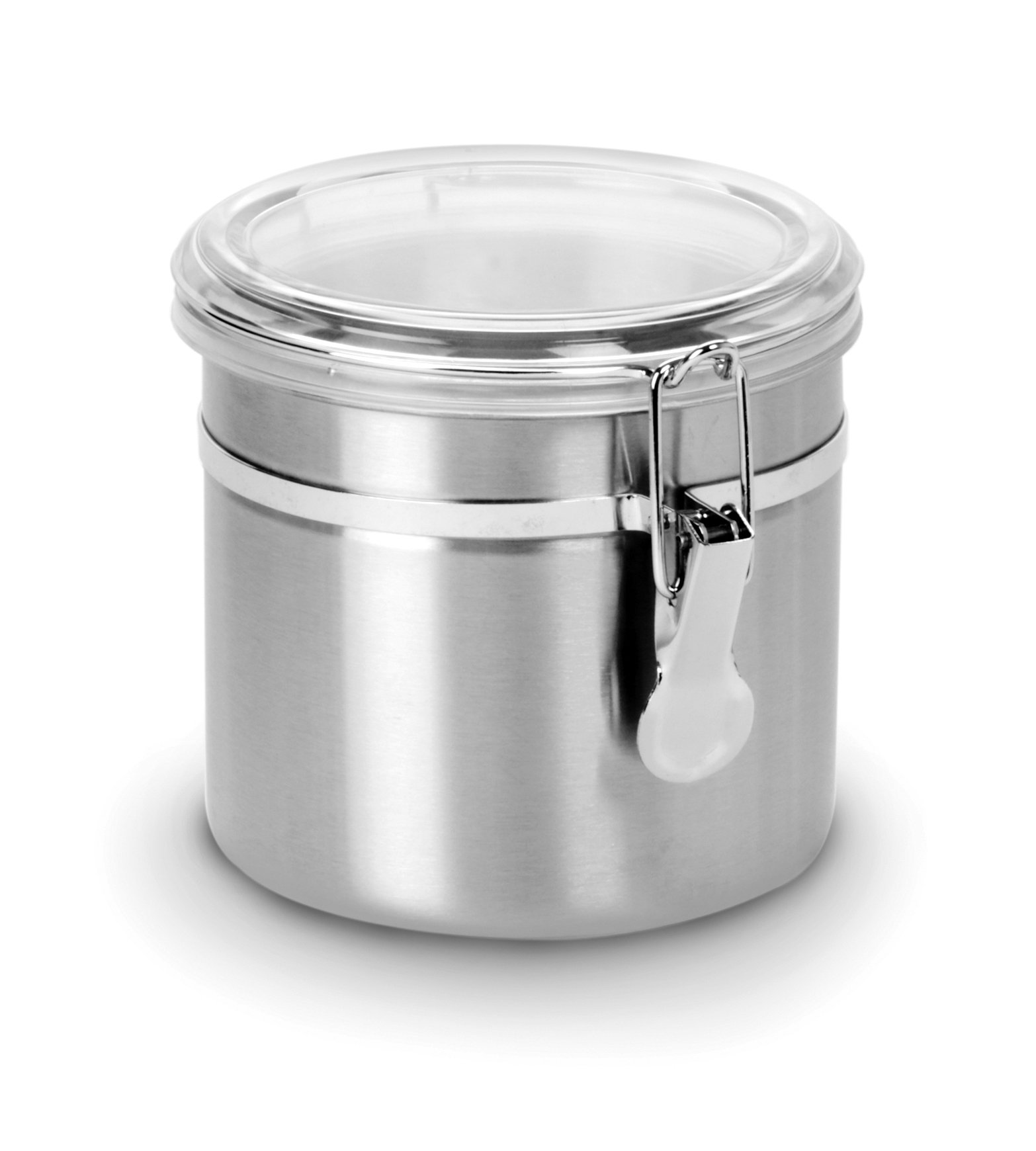 Anchor Hocking Round Stainless Steel Canister with Clear Acrylic Lid and Locking Clamp, 38 oz (Set of 4) by Anchor Hocking