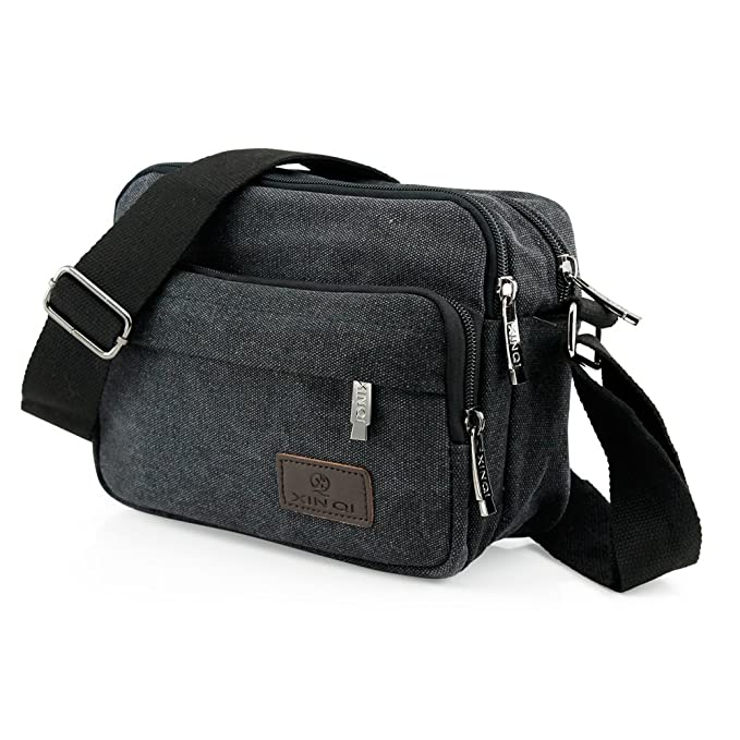 db70587a28a Image Unavailable. Image not available for. Color  Oct17 Men s Vintage  Canvas Crossbody Bag Shoulder Casual Handbag School Messenger (Black ...