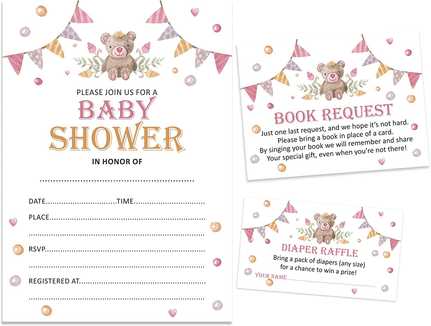Inkdotpot 30 Books for Baby Shower Request Cards Bring A Book Instead of A Card Teddy Bear Gender Neutral Baby Shower Invitations Inserts Games