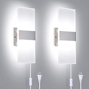 TRLIFE Modern Wall Sconces Set of 2, Plug in Wall Sconces 12W 6000K Cool White Acrylic Wall Sconce Lighting with 6FT Plug in Cord and On/Off Switch on The Cord