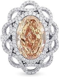 8.42Cts Orange Diamond Engagement Ring Set in 18K Size 6