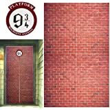 """Platform 9 And 3/4 King's Cross Station, Curtains Door for Harry Potter, Red Brick Wall Party Backdrop, Party Supplies Decoration Halloween, Secret Passage To The Magic School, Platform Harry Potter 78.7""""x 49.2"""" Inch Halloween Decor"""
