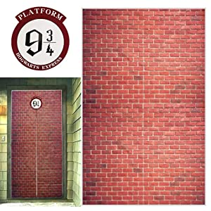 "Platform 9 And 3/4 King's Cross Station, Curtains Door for Harry Potter, Red Brick Wall Party Backdrop, Party Supplies Decoration Halloween, Secret Passage To The Magic School, Platform Harry Potter 78.7""x 49.2"" Inch Halloween Decor"