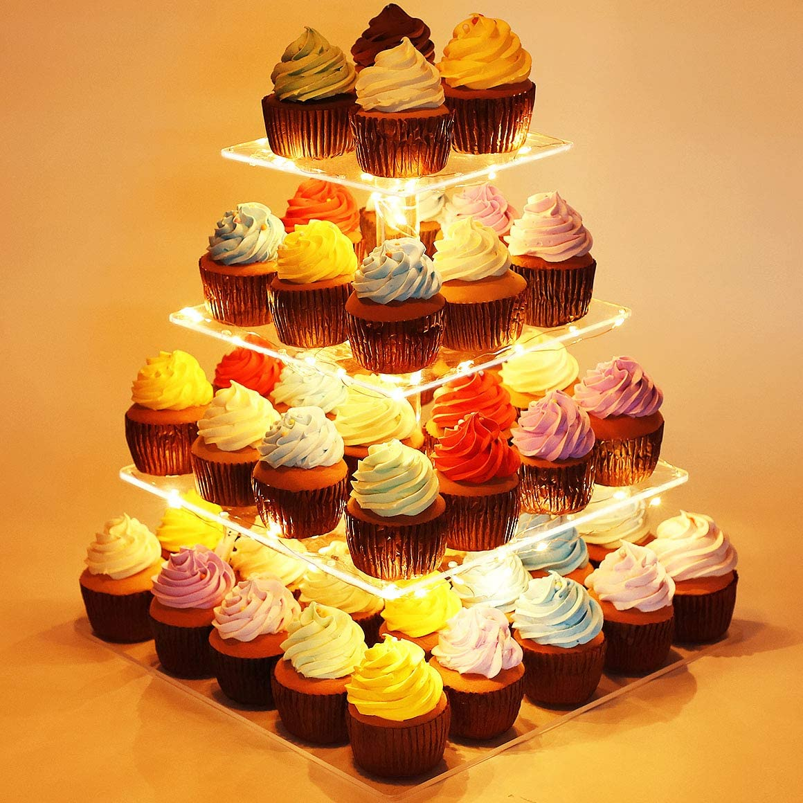 Kootek 4 Tier Square Cupcake Stand with LED String Light Acrylic Dessert Tower Tiered Tree Cake Display Stands Pastry Serving Platter and 4 Pcs Batteriesfor Wedding Birthday Holidays (Yellow)