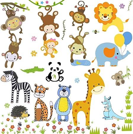 Amazon.com: Pegatinas para ventanas de animales de la selva ...