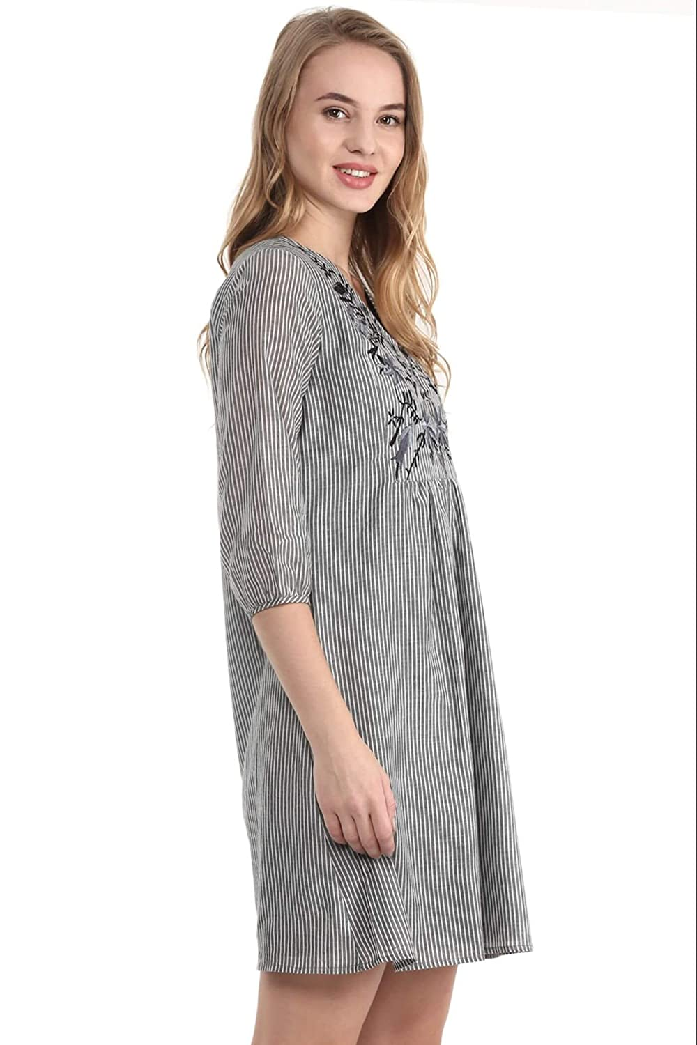 dd7d8cab179 THE VANCA Grey Striped Tunic Dress with Embroidery at Yoke: Amazon.in:  Clothing & Accessories