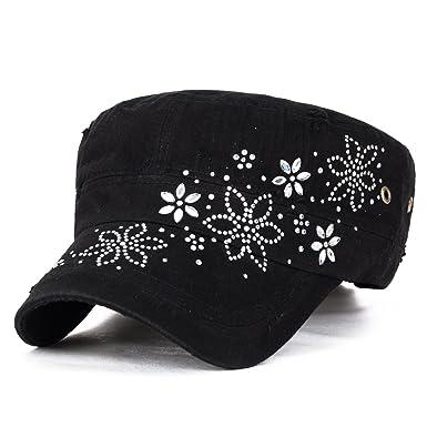 fa61c9b234e ililily Crystal Gemstone Stud Flower Vintage Cotton Military Army Hat Cadet  Cap