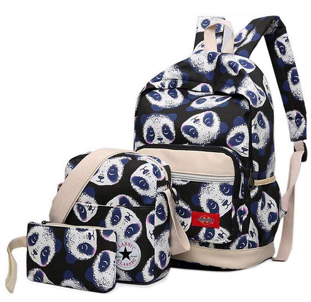 Adoudou 3Pcs Panda Graffiti School Bags Cute Canvas School Backpack + Shoulder Bag +Purse For Teenagers Girl Boy,Green [Energy Class A]