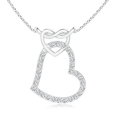 Angara Prong-Set Diamond Twin Heart Pendant moCaCo3CGj