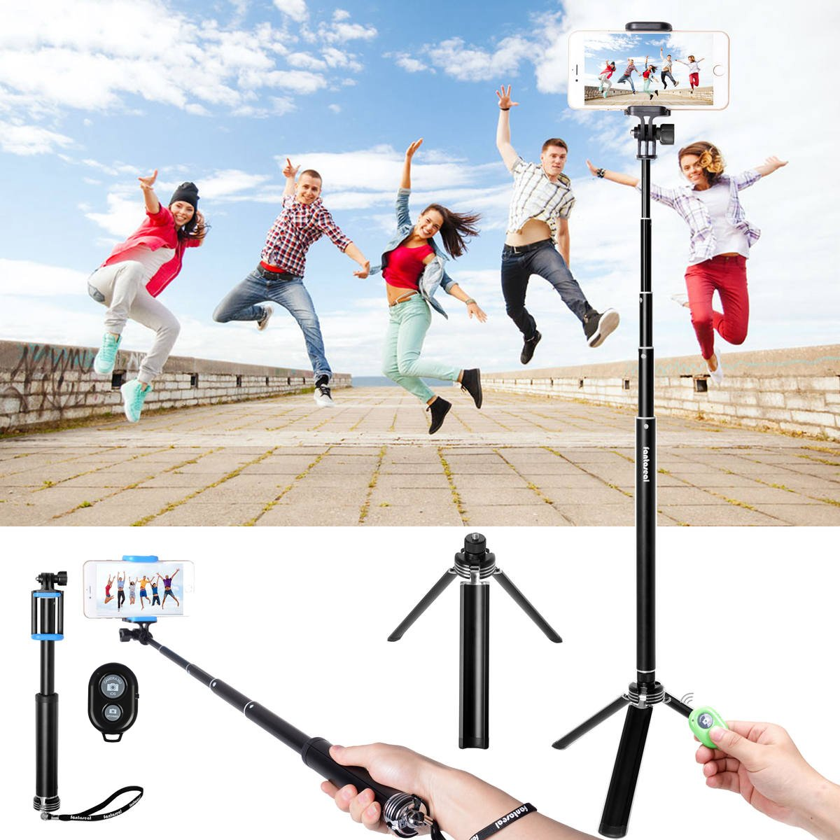 Fantaseal Selfie Stick Tripod, Camera Stand+ Hand Grip+ Selfie Pole+ Tripod 4-in-1 Transformer Stand Pole Selfie Monopod for iPhone Samsung Smartphone + GoPro Action Cam+ Compact Camera Selfie Stick