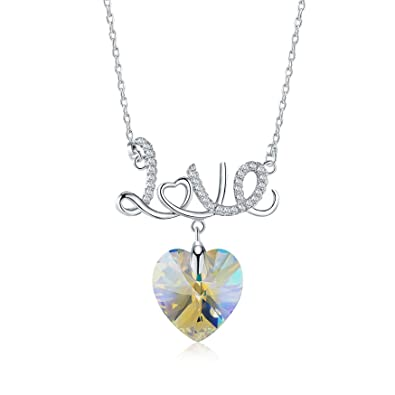 bd7030b61969a Amazon.com: Mevecco Womens Girls Necklace with Swarovski Crystal ...